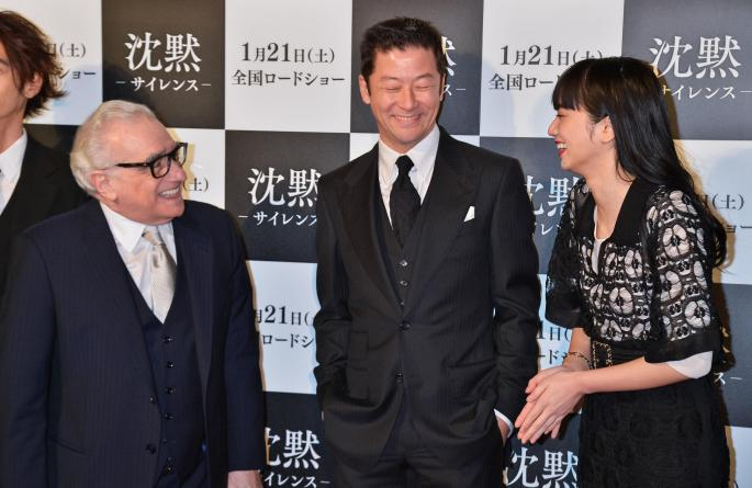 Tokyo, Japan. 17th Jan, 2017. Director Martin Scorsese, actor Tadanobu Asano and actress Nana Komatsu attend the 'Silence' Japanese premiere at Roppongi Hills in Tokyo, Japan. Credit: Aflo Co. Ltd./Alamy Live News